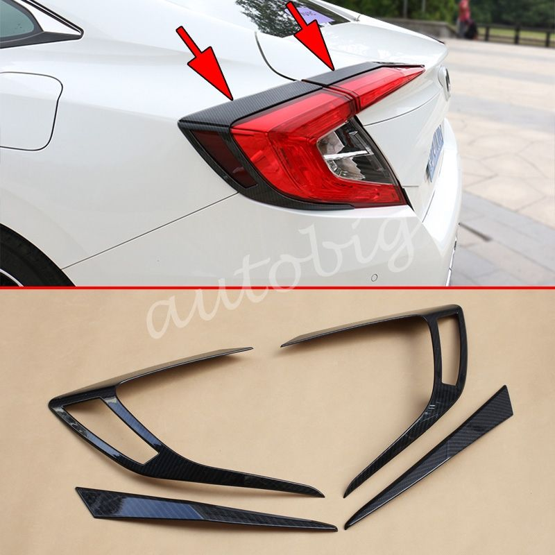 Carbon Fiber Taillight Cover For Honda Civic Sedan 2016 2017 10 Generation Tail Lamp Strips Accesso Honda Civic Accessories Honda Civic Sedan Honda Accessories