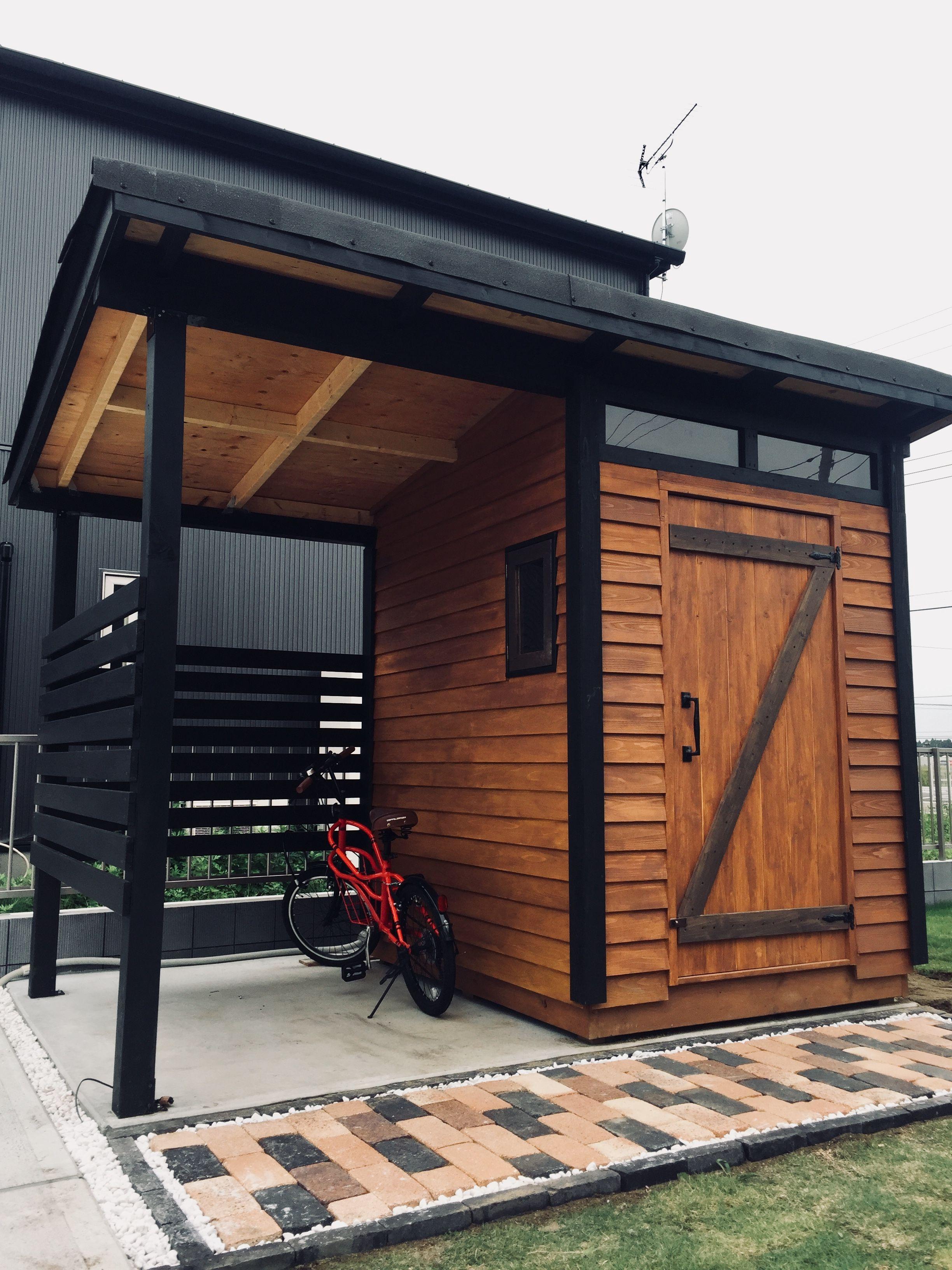 自転車収納 物置小屋をdiyしてみました 小屋 物置小屋 おしゃれ