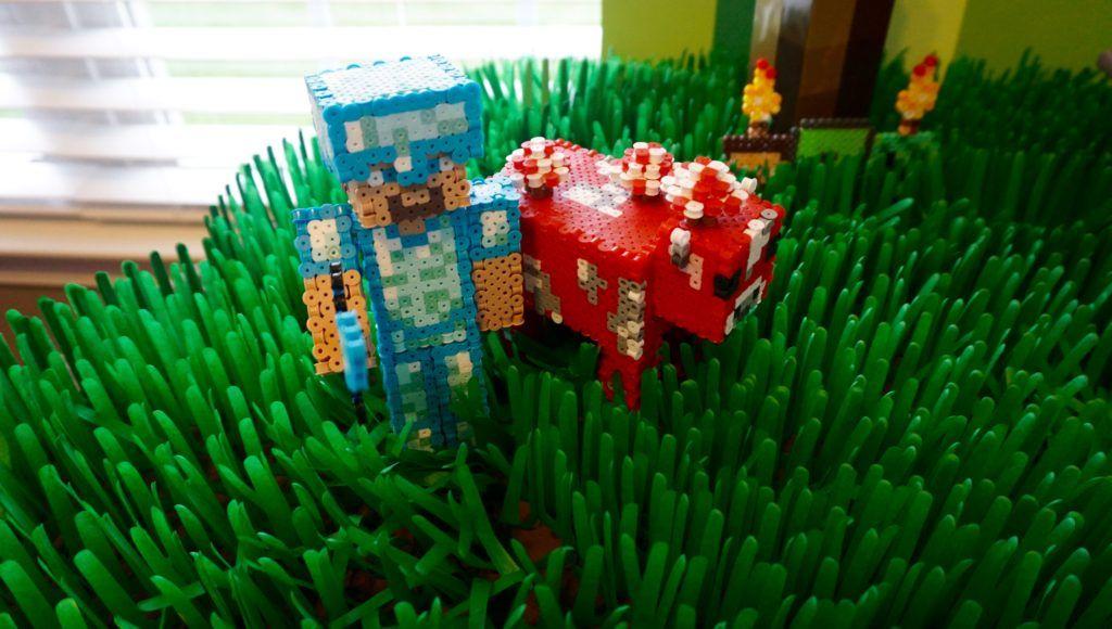 Steve Minecraft 3d Perler 3d Perler Figurine Minecraft