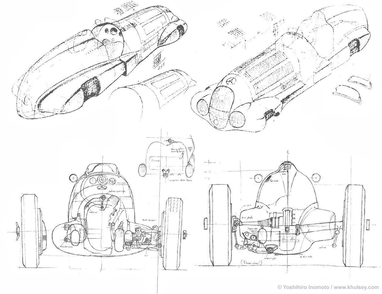 Automotive Illustration Of A Mercedes Benz W125 Scale Plans