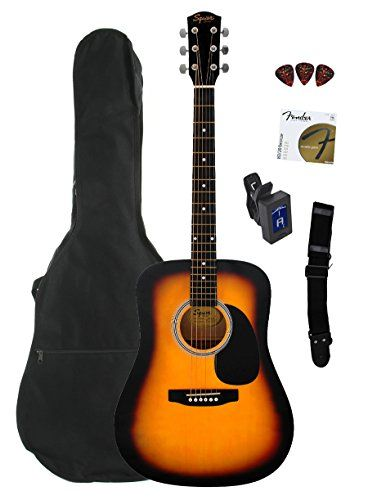 Fender Squier Dreadnought Acoustic Guitar Bundle With Gig Bag Tuner Strap Strings And Picks Sunburst Reviews Acoustic Guitar Guitar Black Acoustic Guitar