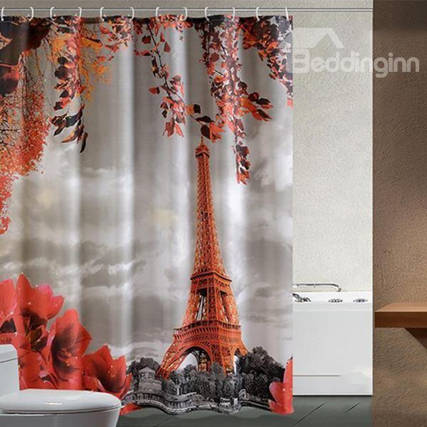 Romantic Aesthete Eiffel Tower Printing Shower Curtain Bath Bathroom Shower Curtain 3 With Images Gray Shower Curtains Designer Shower Curtains Custom Shower Curtains