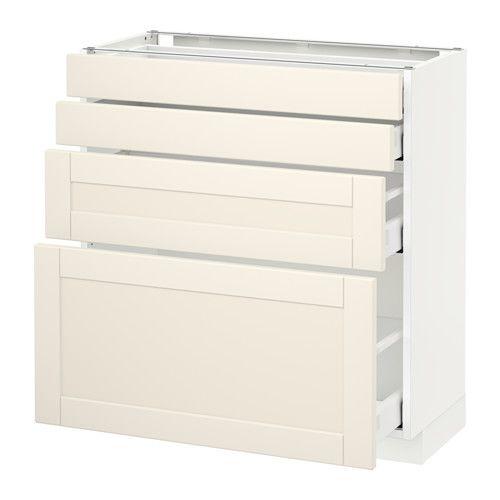 METOD / MAXIMERA Élt bas 4 faces/4 tiroirs IKEA Amortisseurs intégrés pour une fermeture des portes en douceur et en silence.