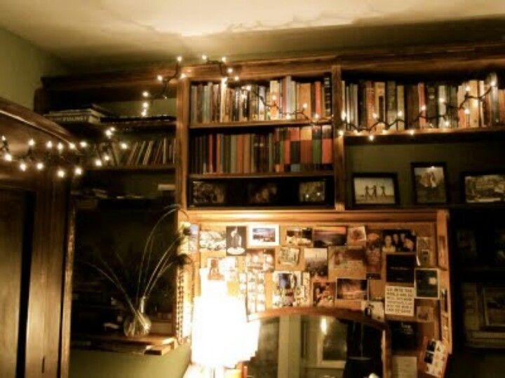 String Lights On A Bookshelf