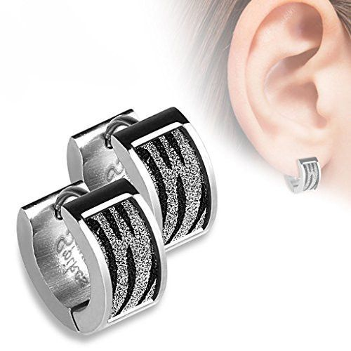BodyJ4You® Earrings Huggie Hoop Silver Steel Zebra Sand Sparkle Fashion Jewelry
