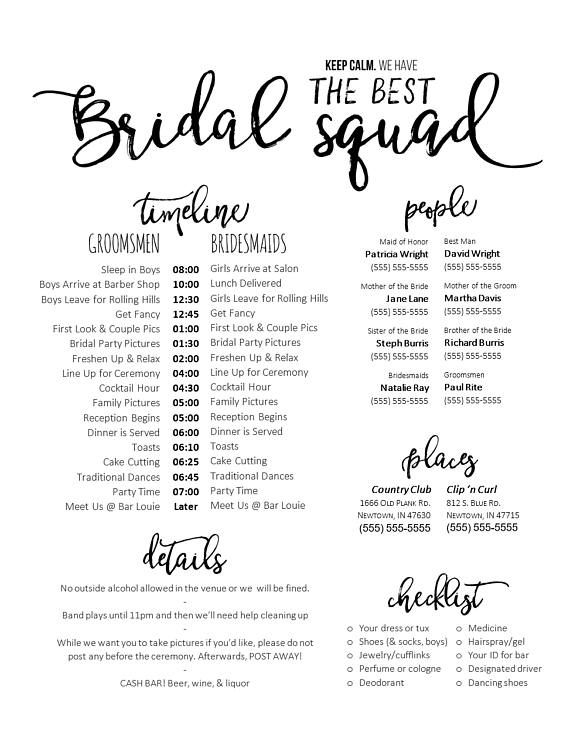 The Day Of Wedding Can Be Hectic And Last Person You Want To Bother Is Bride This Template For A Timeline Phone List