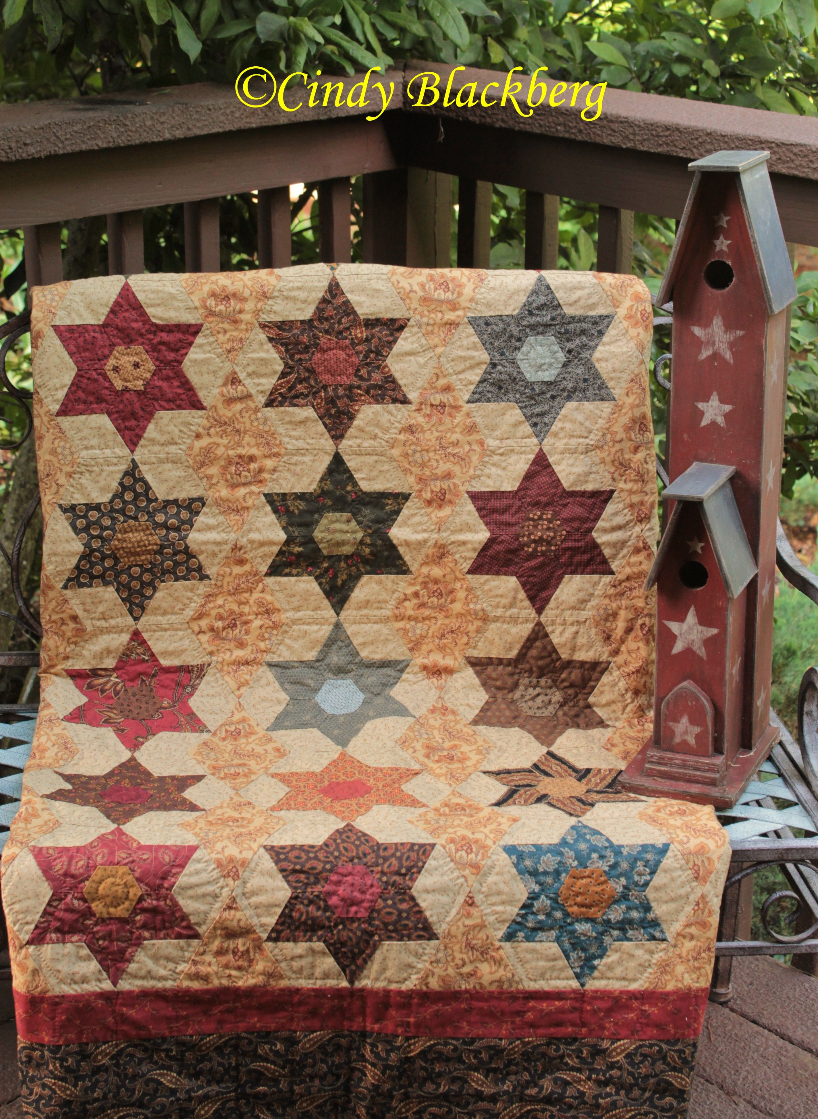 Star Garden quilt made with template stamps available at www ...