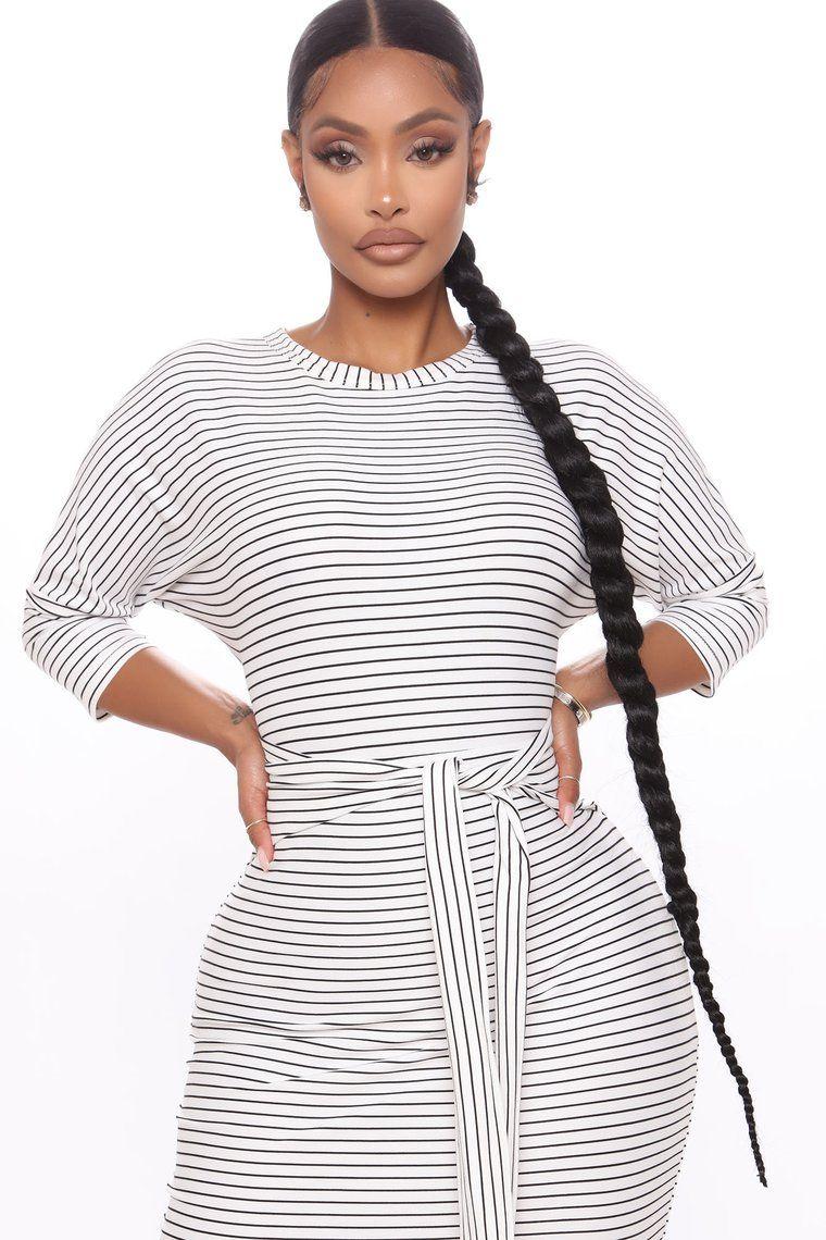 Tied Lines Striped Midi Dress White Black In 2020 White Midi Dress Striped Midi Dress Dresses [ 1140 x 760 Pixel ]