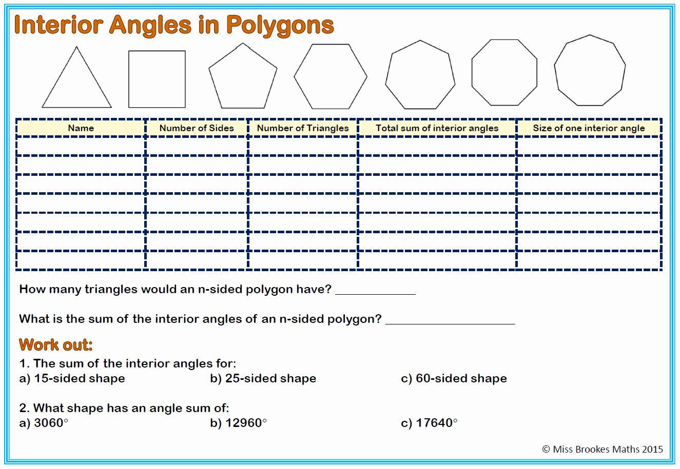 Polygon And Angles Worksheet Luxury Worksheet Interior Angles A Polygon Worksheet Grass In 2020 Angles Worksheet Literal Equations Geometry Worksheets