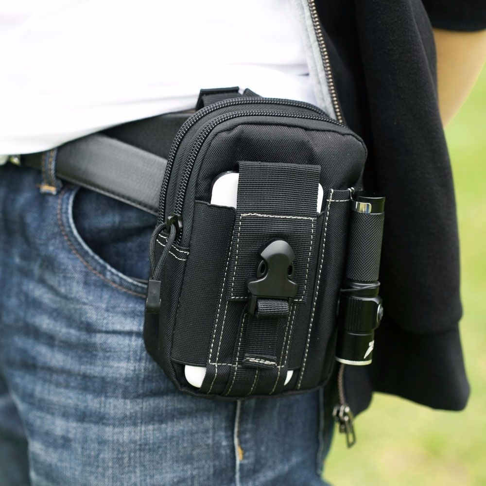 Real Leather Travel Holiday Money Belt Pouch Black Waist Fanny Pack Bumbag