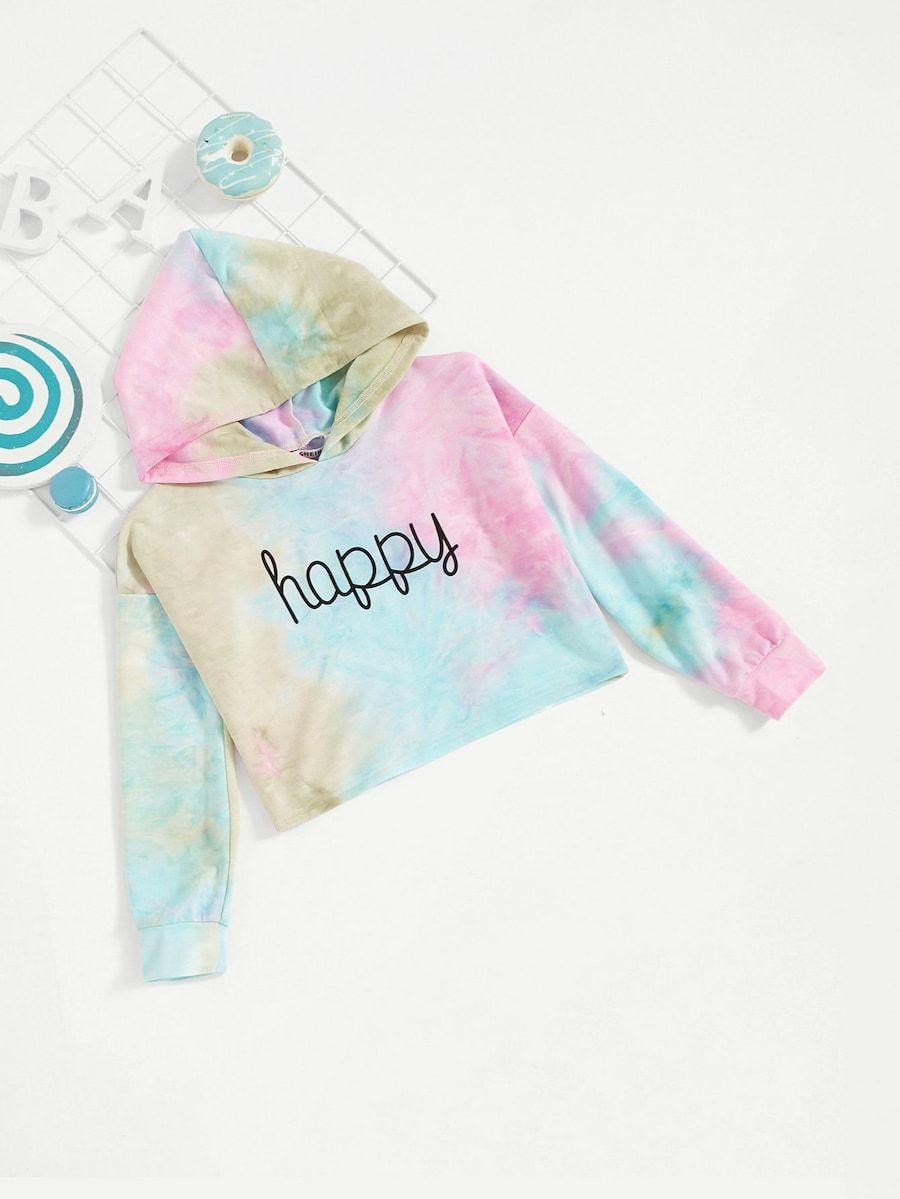 Girls Happy Print Tie Dye Sweatshirt Shein Uk Tie Dye Girl Tie Dye Sweatshirt Hoodie Girl [ 1199 x 900 Pixel ]