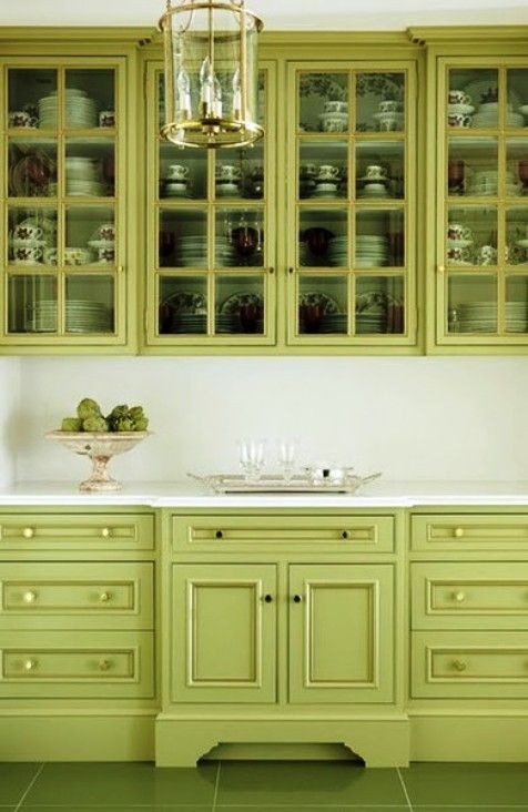 Love this kitchen cabinet style and glass doors.