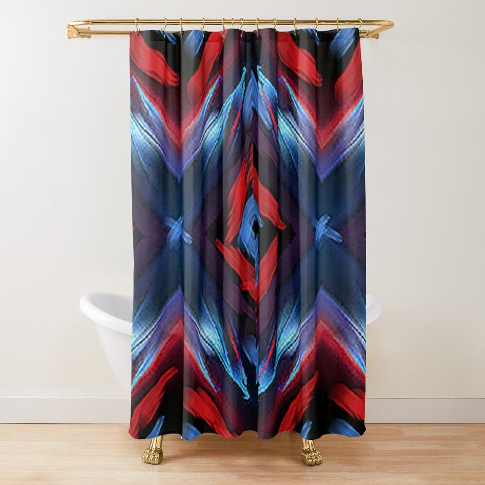Red And Blue Abstraction With A Hint Of Purple Shower Curtain By