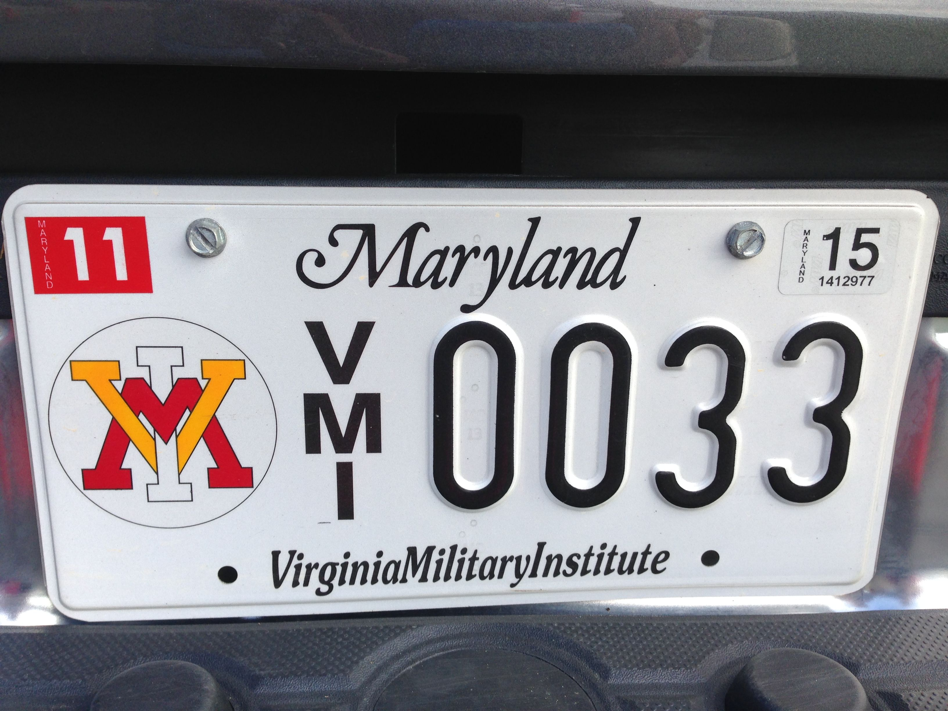 not personalized necessarily, but one of the first VMI plates in MD!  *If this is your license plate and you wish it removed, please contact the VMI Alumni Office: 800.444.1839  or feedback@vmiaa.org*