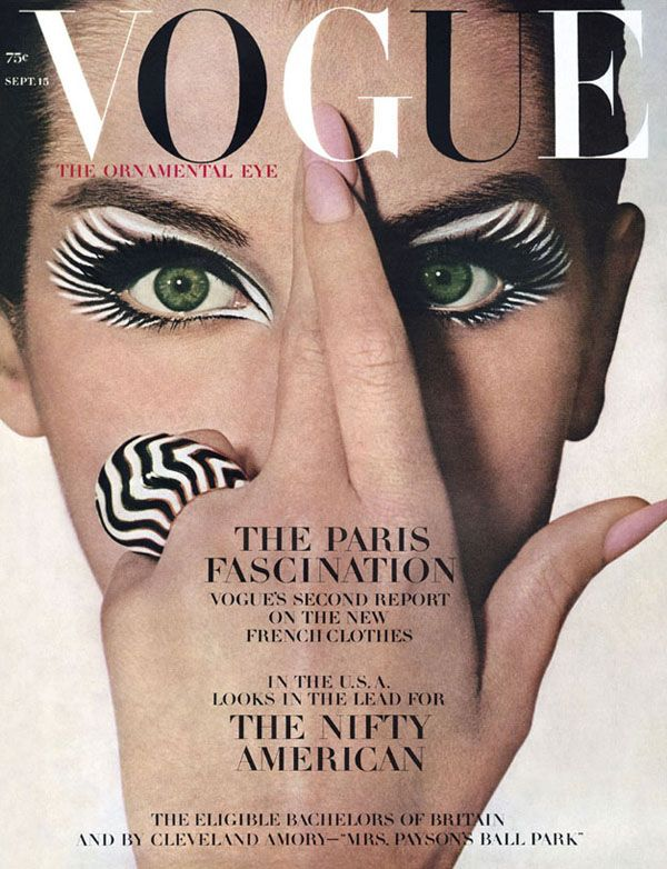 """Vogue's September 1964 issue, actress and model Veronica Hamel posed for """"The Ornamental Eye"""" which featured her striking green eyes outlined with a bold zebra stripe."""