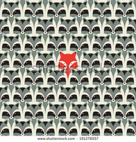 seamless raccoon pattern - stock vector