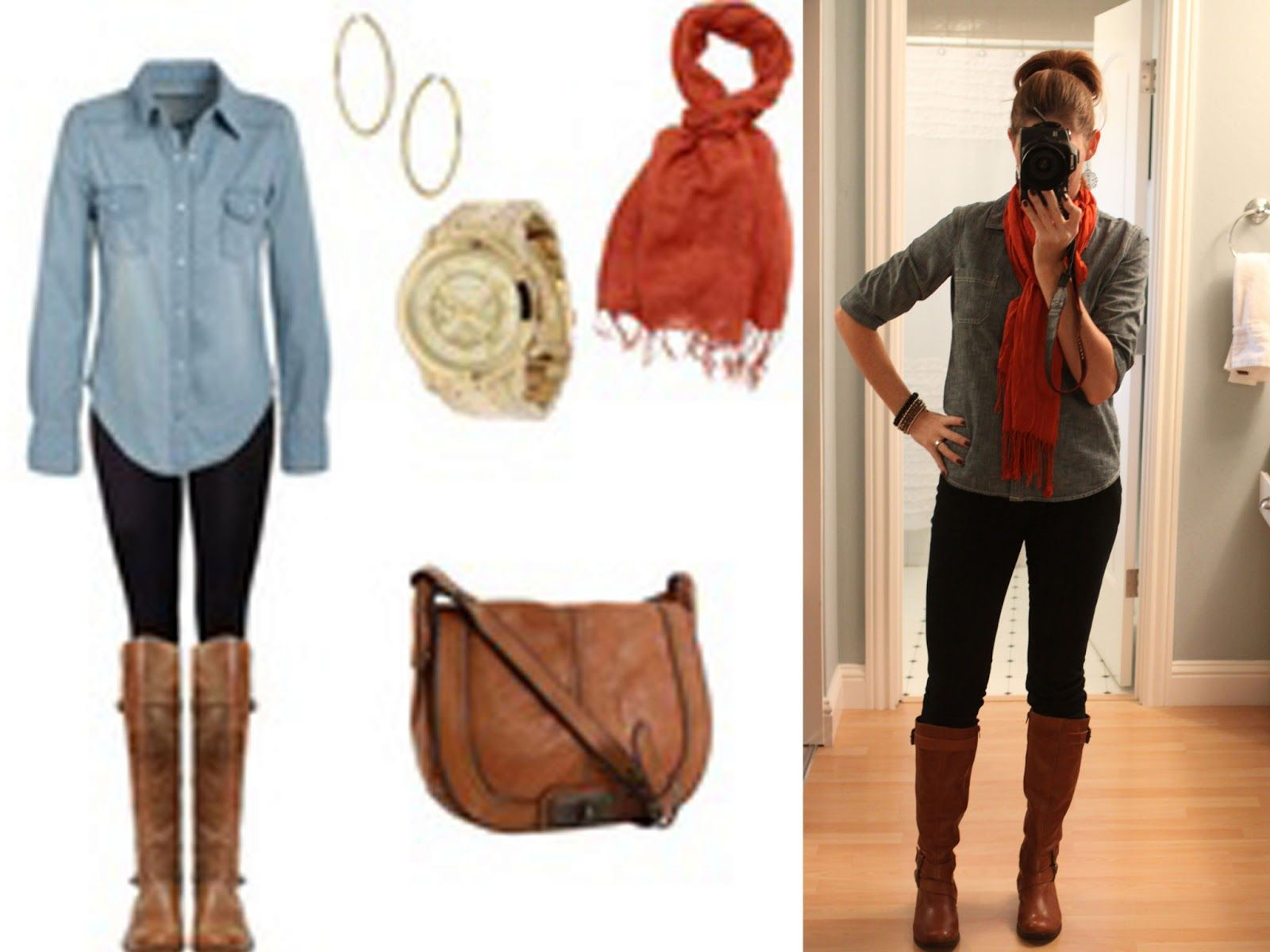 high school outfits for girls | Chambray Shirt : Old Navy // Black ...