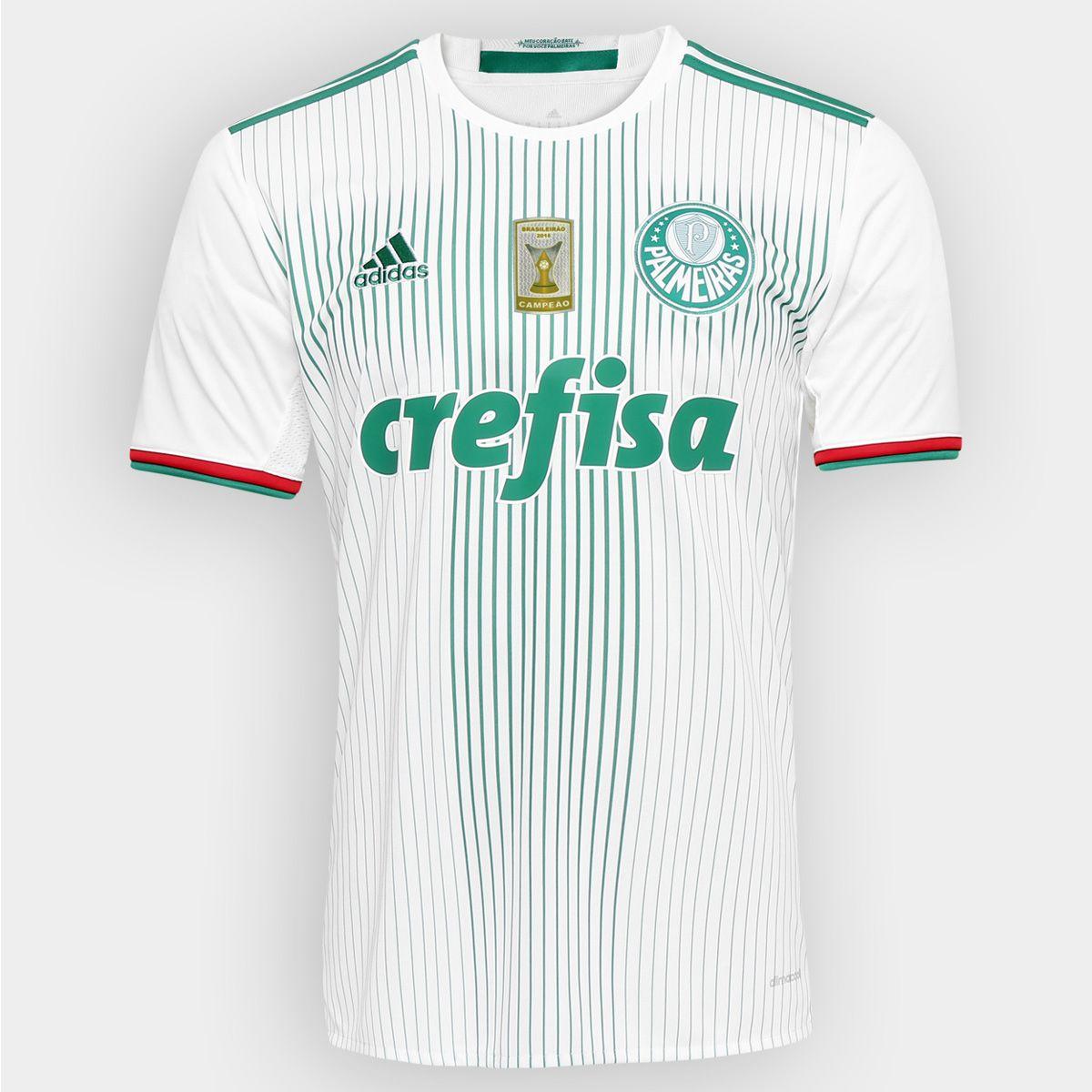 Camisa Adidas Palmeiras II 2016 s nº - Patch Campeão Brasileiro -  Branco+Verde 0a69f4317c607