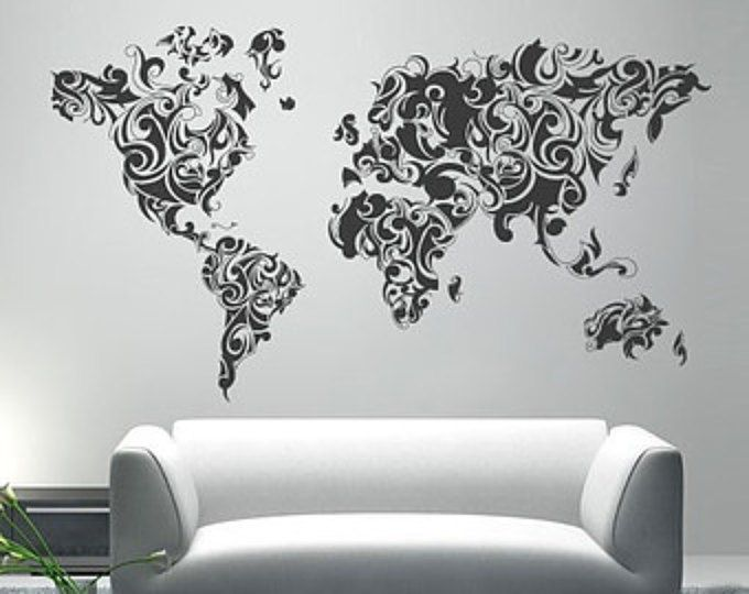 World map outlines wall decal continents decal large world worldmap tribal decal large world map vinyl wall sticker world map wall sticker gumiabroncs Gallery