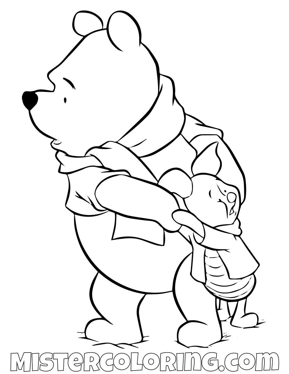 Winnie The Pooh And Piggy Cold Coloring Page Disney Coloring Pages Coloring Pages Cartoon Drawings