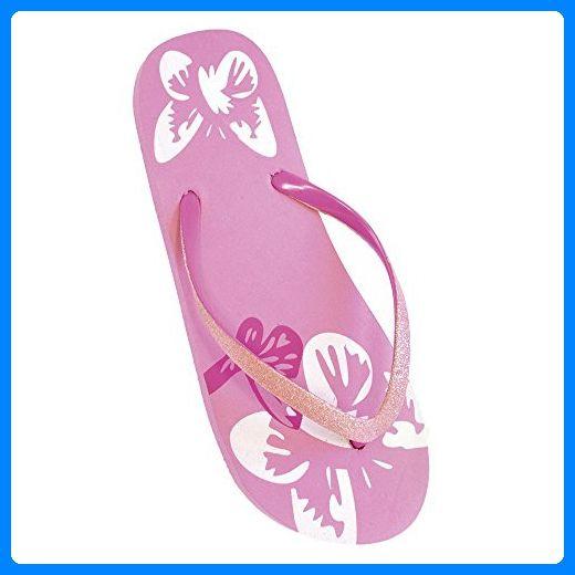 FLOSO® Damen Flip Flops mit Glitzerriemen und Schmetterling-Muster (EURO  40/41