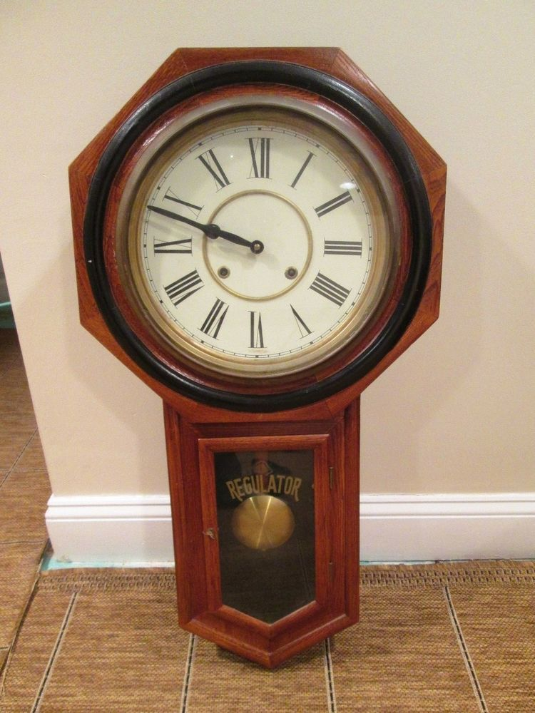 Vintage Wood Railroad Regulator Pendulum Wall Clock Key