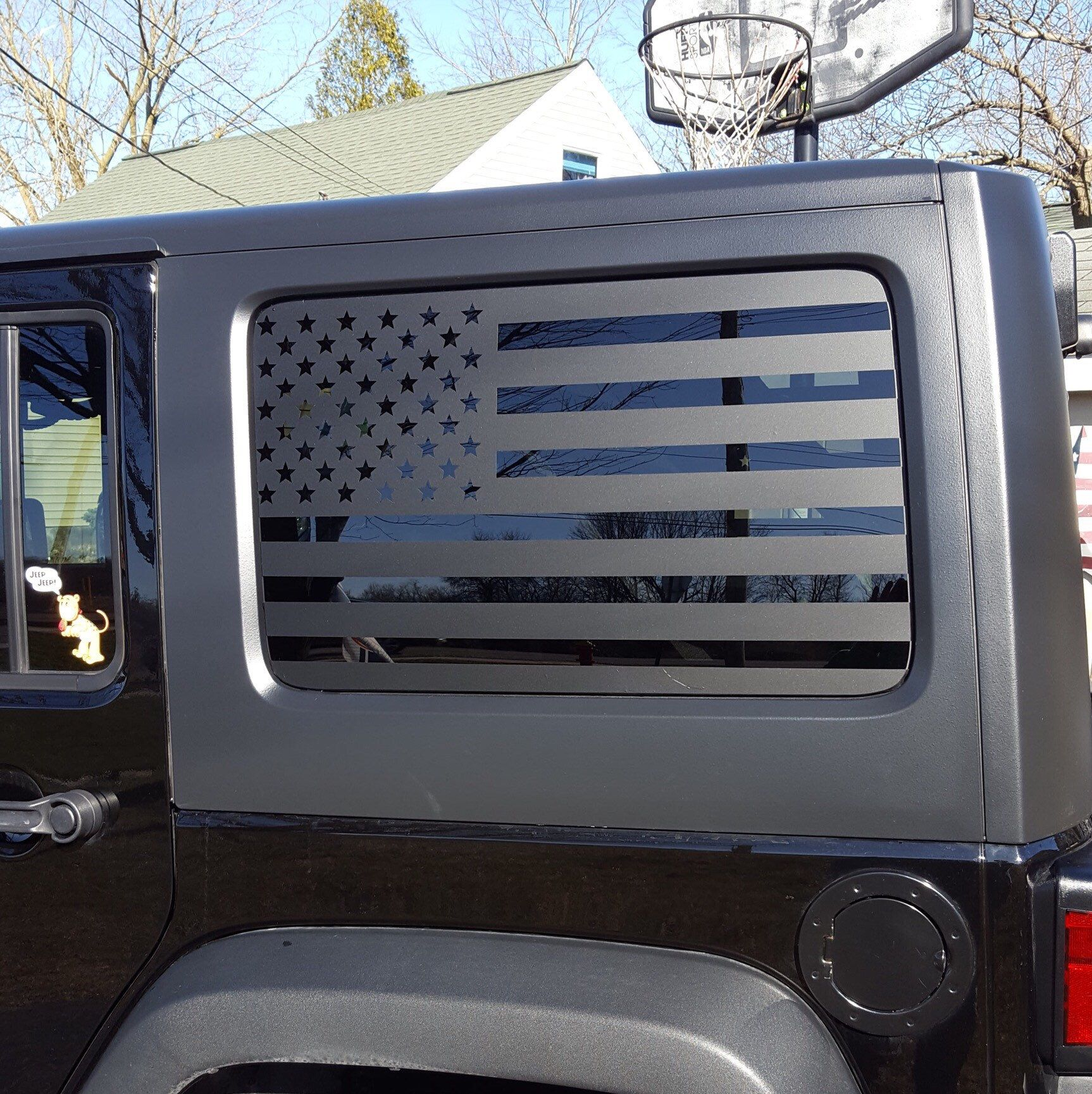 American Flag Decals For Jku Jeep Wrangler Hardtop Side Windows Matte Black Patriotic Flags 4 Door Hs8 By The With Images American Flag Decal Flag Decal Jeep Stickers