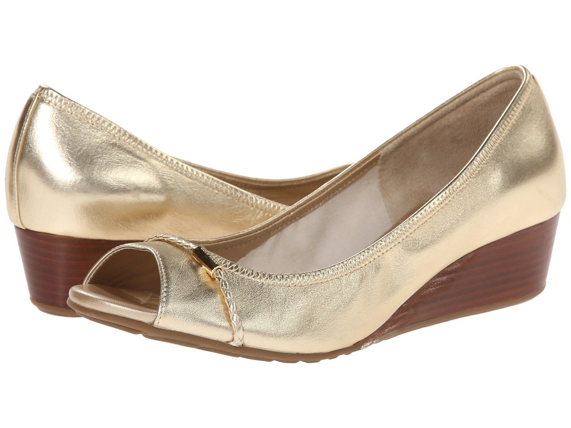 Womens Shoes Cole Haan Tali Open Toe Wedge 40 Soft Gold
