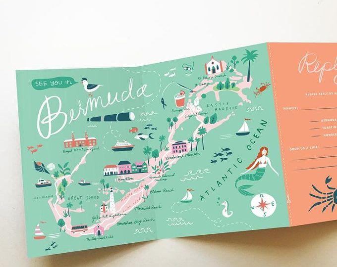 wedding invitation map - tri-fold invitation - bermuda - destination wedding