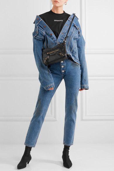 f634c8ebbe BALENCIAGA Classic Hip black textured-leather shoulder bag | minimal