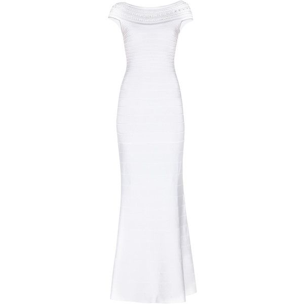 Herve Leger Sophia Braided Ottoman Crochet Gown (€1.150) ❤ liked on Polyvore featuring dresses, gowns, long dresses, vestidos, white, off the shoulder dress, white off the shoulder dress, white evening dresses, long white evening dress and wrap dress
