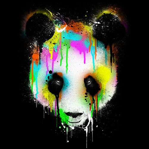 Designs Of Pen Stand : Panda drip paint rainbow color cool tshirt tee design art