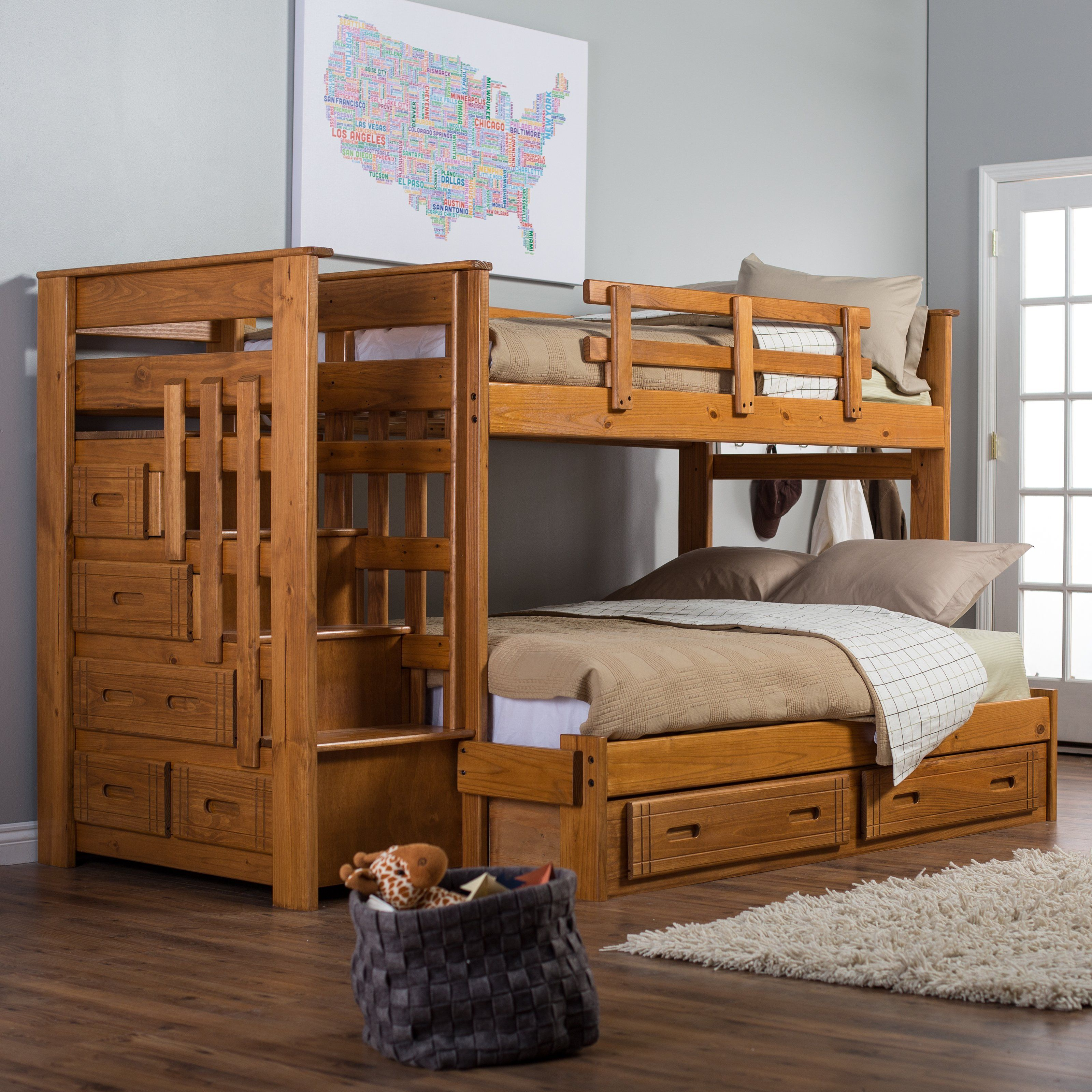 Stairway Ii Twin Over Full Bunk Bed With Stairs Storage Beds At