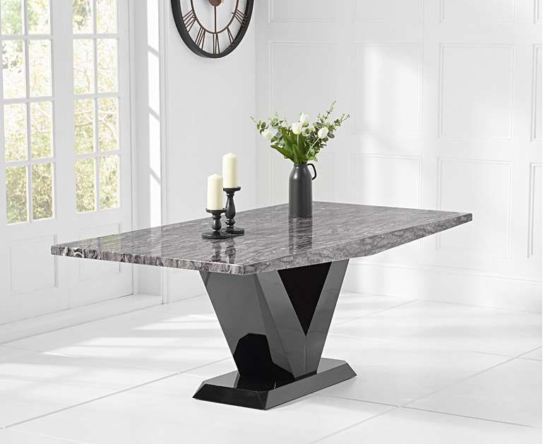 Verbier 200cm Grey V Pedestal Marble Dining Table with Freya Chairs is part of Dining table marble -