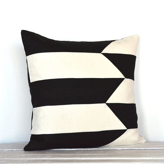 Graphic Broken Stripe Colorblock Pillow Cover by celineandkate