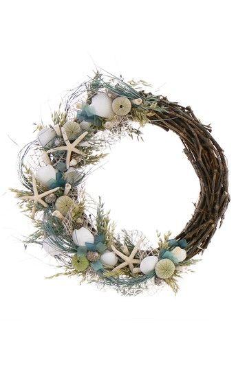 "22"" Seaglass Wreath by Nautical Designer Wreaths and Arrangements on @HauteLook $74"