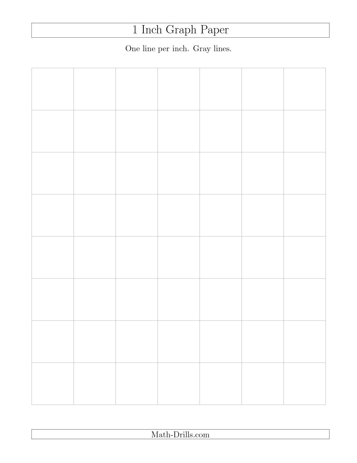 1 Inch Graph Paper With Gray Lines Math Worksheet