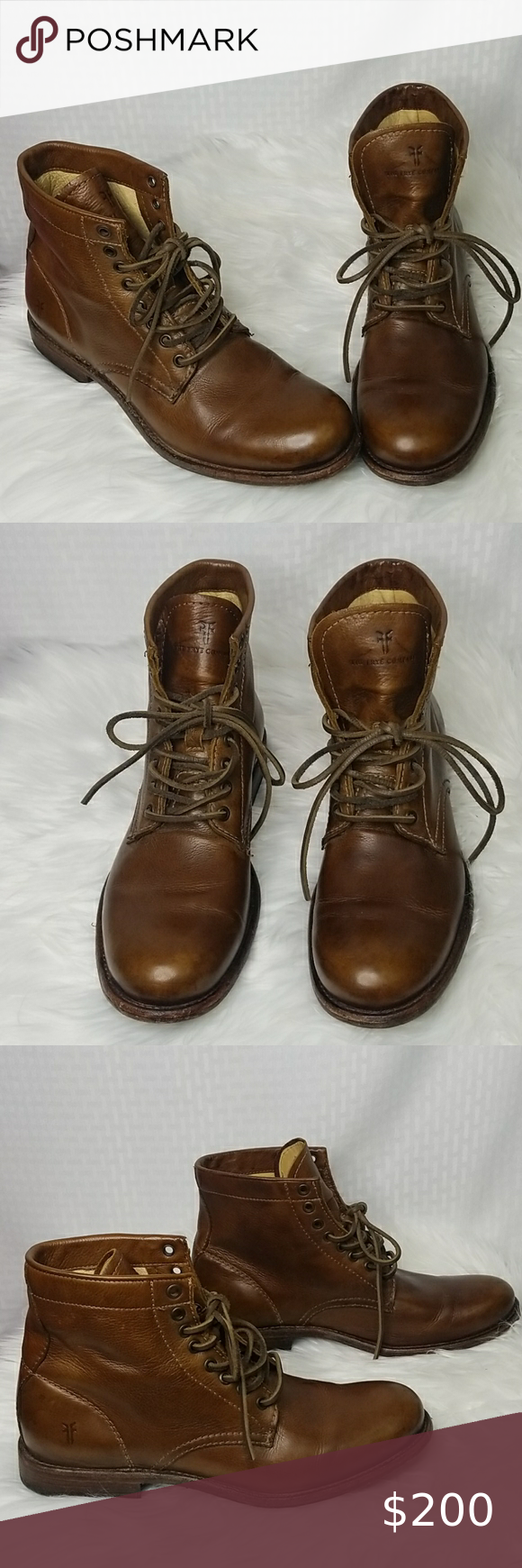 Mens FRYE leather lace up boots great