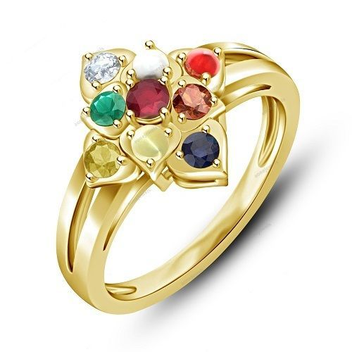 Navratna Women s Ring White Gold Finish Navagraha Multicolor stone