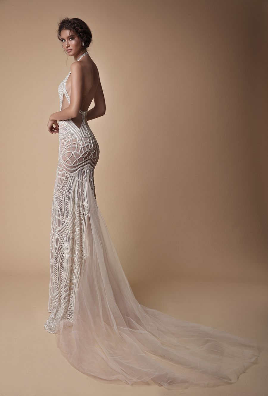 A regal figure hugging evening wedding gown with gorgeous backless design 9352c9ae1