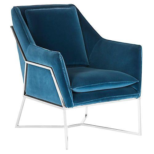 Best Evrex Accent Chair Royal Blue Velvet With Images 400 x 300