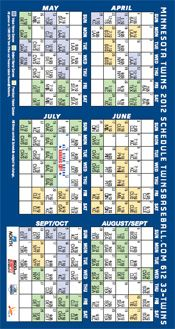 photo relating to Minnesota Twins Printable Schedule named 2012 Twins program Baseball Twins routine, Minnesota