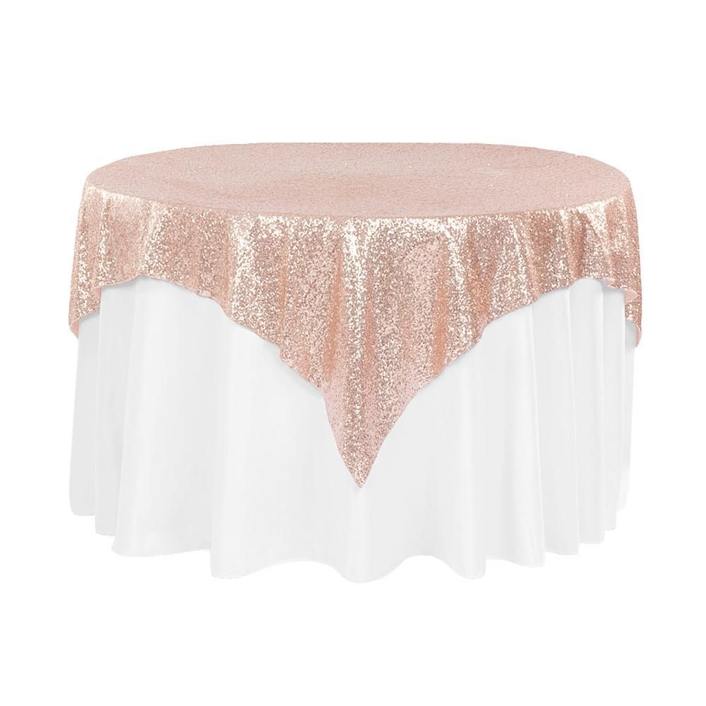Blush Sequins Overlay Square Tablecloth 60 Sequin Table Table