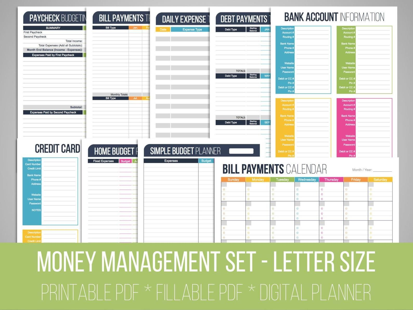 Money Management Set Fillable Financial Printables Bill