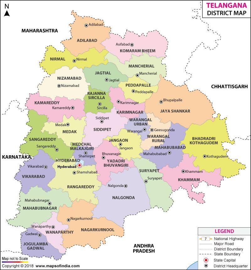 Telangana State Map Telangana Map India Map