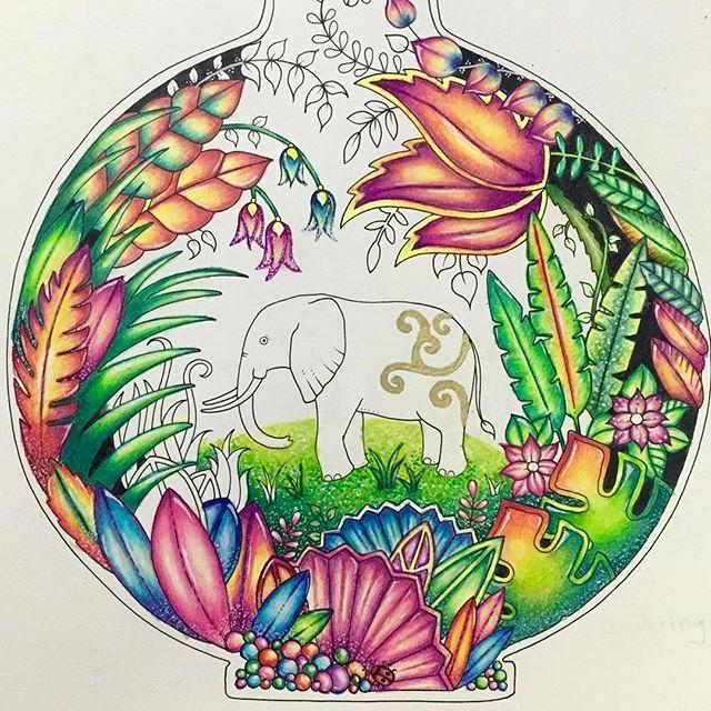 WIP #johannabasford #magicaljungle #magicaljunglecoloringbook #마법의정글 #gellyroll…