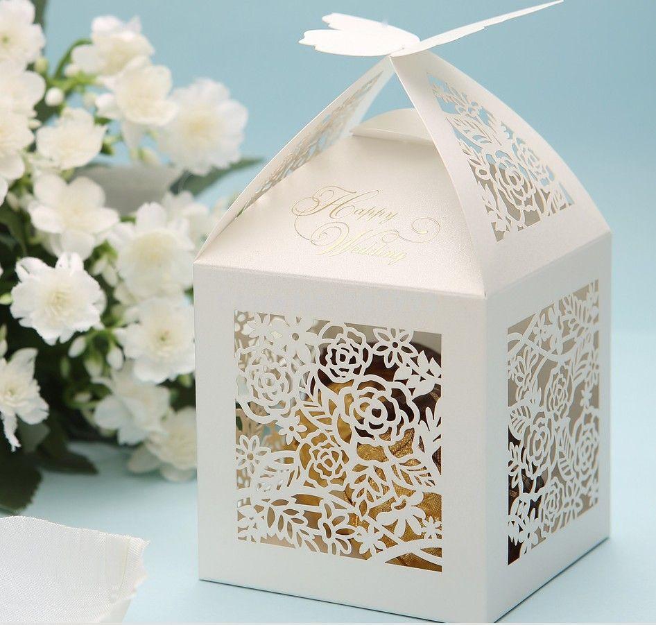 Ivoire laser cut bonbons boîte cadeau pour wedding favor bonbons de ...