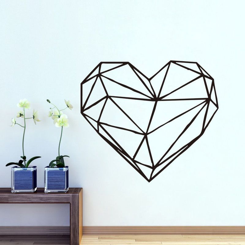G187 Geometrique Coeur Sticker 3d Coeur Wall Sticker Amovible Coeur