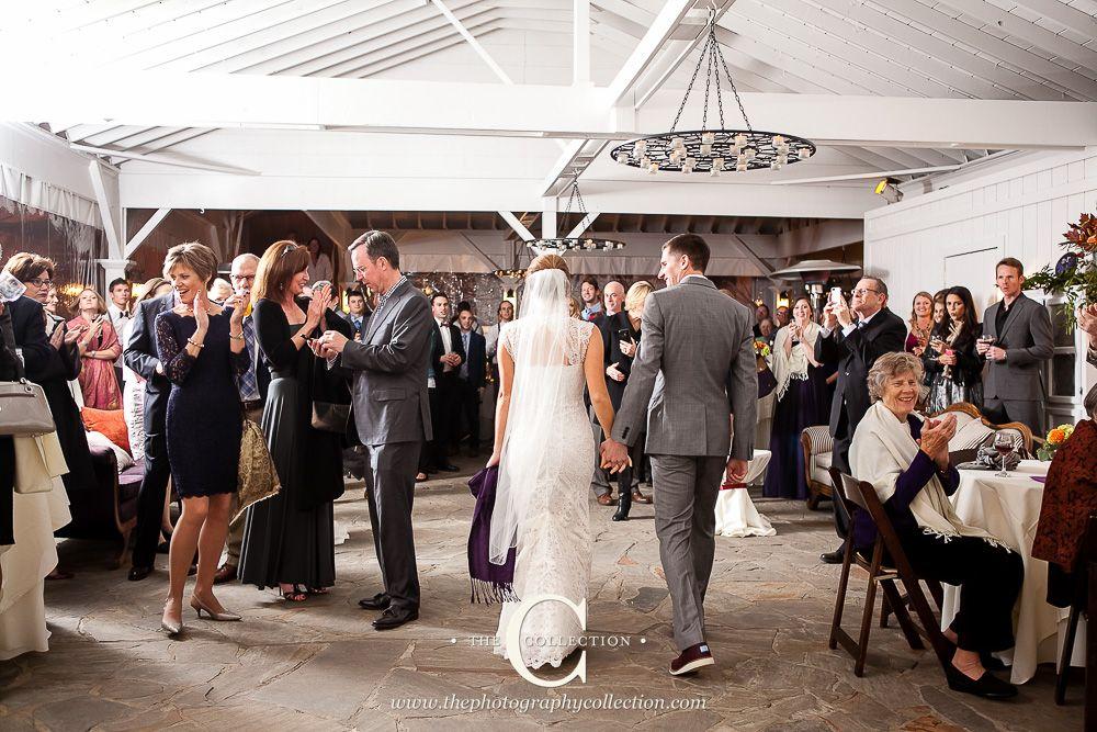 Bride And Groom Enter Reception At Colorful Fall Cedarwood Destination Wedding