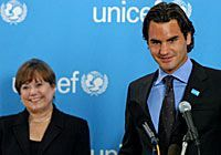 UNICEFs newest Goodwill Ambassador tennis star Roger Federer hits an ace for childrenace